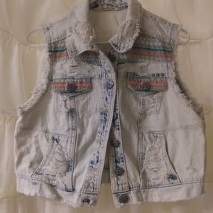 Distressed cropped vest